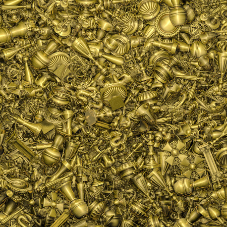 Gold treasure background  3D illustration of golden treasure trove