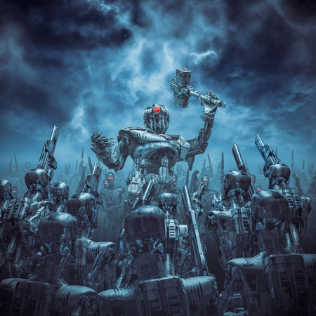 Once more unto the breach / 3D illustration of science fiction scene with robot general holding battle hammer rallying his android troops under a stormy dark sky Foto de archivo