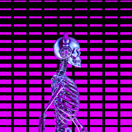 Eighties neon disco headphone skeleton  3D illustration of chrome metal male skeleton wearing headphones with glowing volume bar background Stock Photo