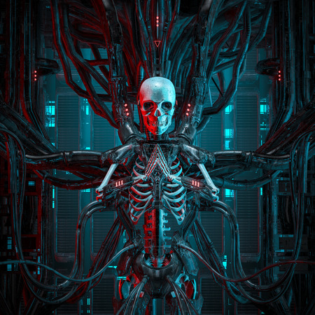The quantum reaper  3D illustration of science fiction human android gamer skeleton hardwired to computer core Stock Photo