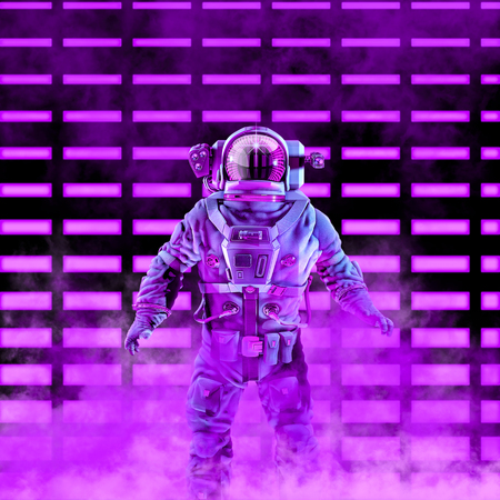 The neon astronaut  3D illustration of science fiction scene with astronaut in space suit in front of glowing neon lights