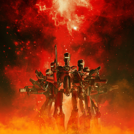 In the heat of battle  3D illustration of science fiction scene with military robot troopers in the fiery glow of space war Stock Photo