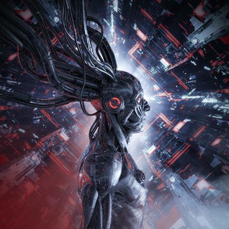 Inteligencia artificial personificada / Ilustración 3D de ciencia ficción androide humanoide masculino dentro del núcleo de la computadora futurista