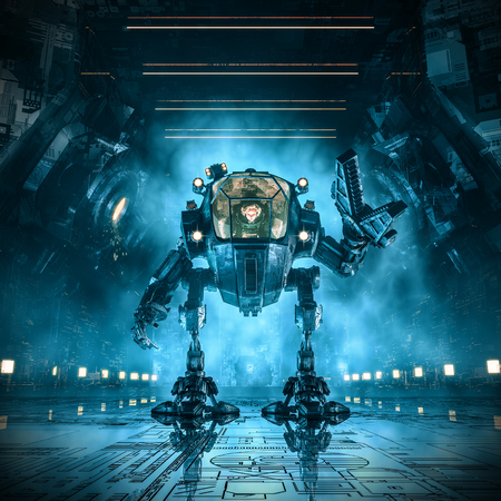 Cargo loader mech / 3D  of science fiction scene with female astronaut controlling heavy industrial mech robot inside dark industrial space ship corridor