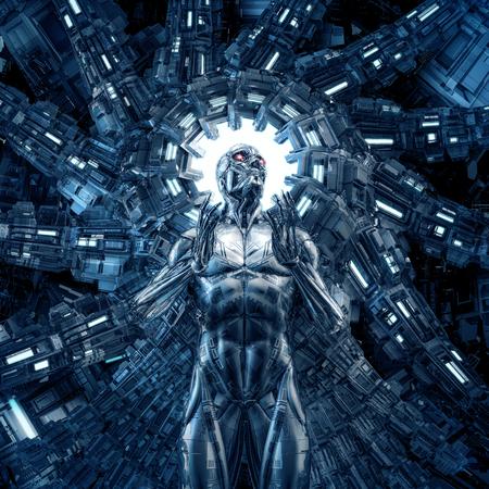 Sueño en acero / 3D de ciencia ficción cyborg humanoide masculino dentro de un brillante núcleo de computadora futurista