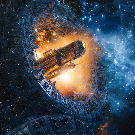 Titan's gate revisited / 3D illustration of science fiction heavy armoured battle cruiser spaceship arriving through giant mechanical portal in outer space Stock Photo