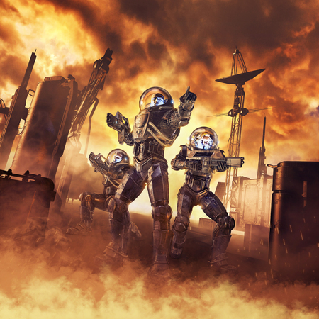 Assault on Arcturus  3D illustration of science fiction scene showing heroic space marine astronauts with laser pulse rifles advancing through blazing inferno on alien planet