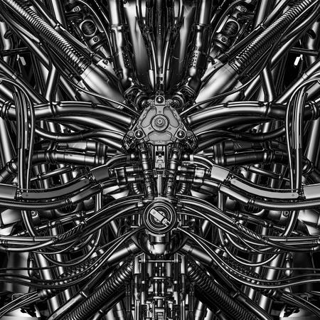 Núcleo de la máquina / Ilustración 3D de fondo de maquinaria de núcleo cerebral de ciencia ficción futurista compleja