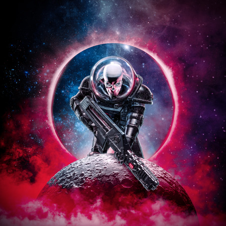 The death trooper  3D illustration of science fiction scene showing evil skull faced astronaut space marine soldier with laser pulse rifle rising above moon