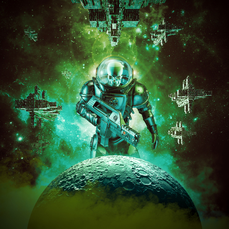 Skeleton military astronaut warrior of science fiction scene of evil skull faced space soldier with laser pulse rifle rising above moon and fleet of spaceships