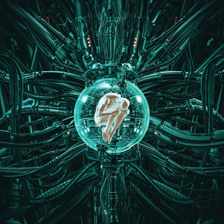 The human pod  of science fiction scene showing human male figure in fetal position inside complex futuristic incubator cloning machinery 스톡 콘텐츠