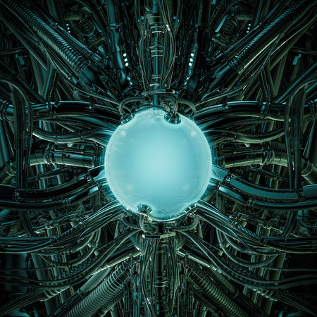 The alien pod  3D illustration of science fiction scene showing glowing glass container inside complex futuristic machinery