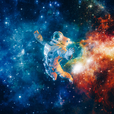 Among the stars  3D illustration of science fiction scene with astronaut floating in outer space amid glowing colourful galaxies Stock Photo