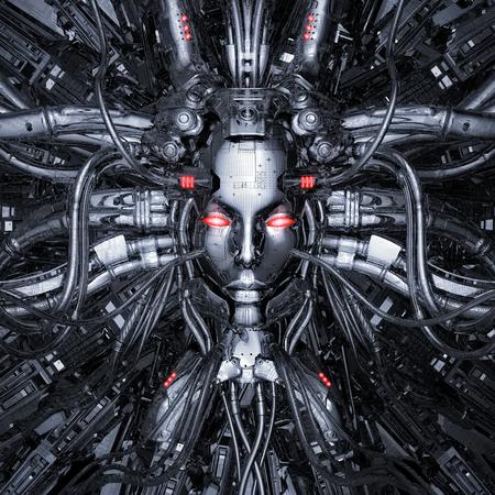 Cableado para el pensamiento / Ilustración 3D de inteligencia artificial femenina robótica de ciencia ficción conectada al núcleo de la computadora