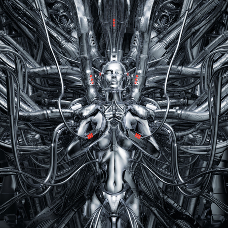 Maiden in the machine  3D illustration of science fiction meditating female android hardwired to complex alien machinery