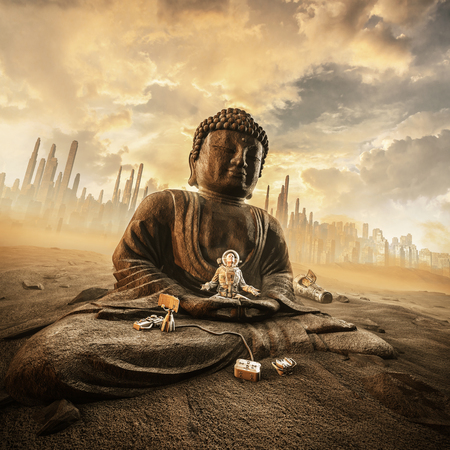 Harmony in the heat  3D illustration of astronaut meditating on ancient stone statue of Buddha on abandoned desert city colony planet under a glorious sky