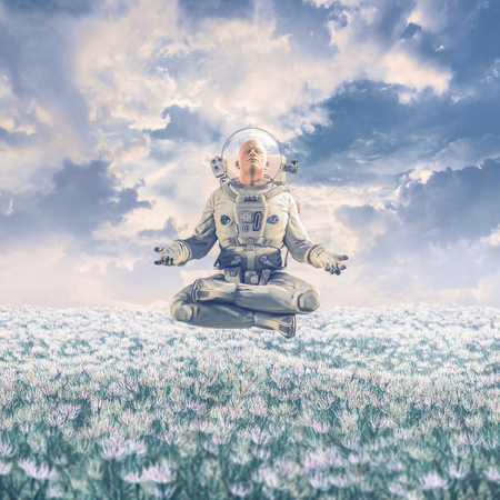 Dreamer in the field  3D illustration of surreal science fiction scene with meditating astronaut levitating over a field of flowers under a glorious sky