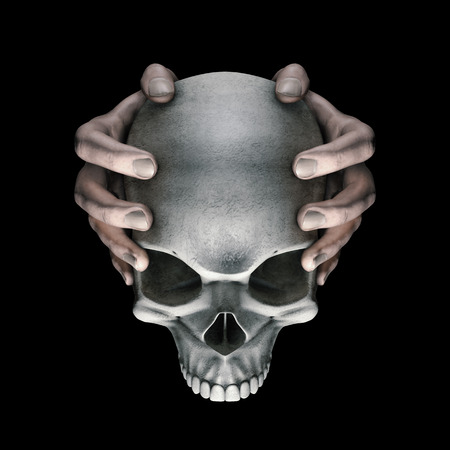 Dark thoughts horror skull  3D illustration of hands holding scary evil dark grungy human skull on black background Stock Photo