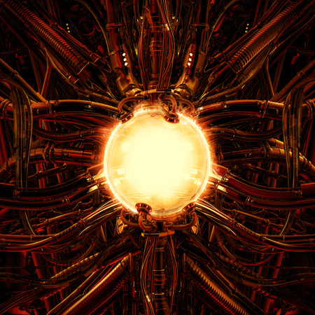 The nuclear pod  3D illustration of science fiction scene showing fiery glowing hot energy core inside complex futuristic machinery