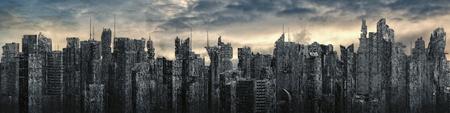 Panorama de la distopía de la ciudad de ciencia ficción / Ilustración 3D de ruinas futuristas de la ciudad de ciencia ficción postapocalíptica bajo un cielo brillante Foto de archivo
