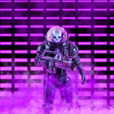 The neon dark trooper of science fiction scene with evil skull faced astronaut space