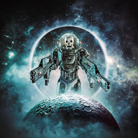 Skeleton military astronaut of science fiction scene showing evil skull faced space