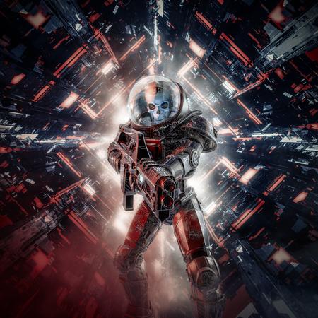 Intruder skeleton military astronaut of science fiction scene showing evil skull faced