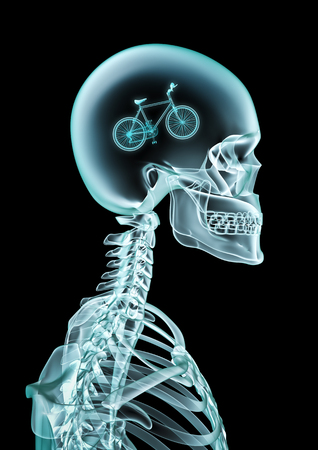 X-ray bicyclist cycology  of human skeleton x-ray showing bicycle inside head