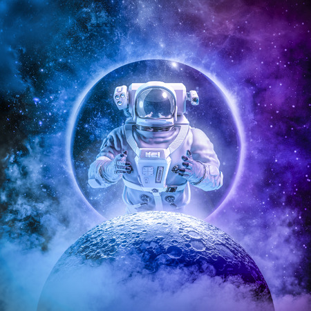 Alone in the final frontier of science fiction scene with astronaut rising above moon surrounded by glowing galaxies in space
