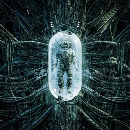 La vaina de astronautas de la escena de ciencia ficción que muestra a un astronauta atrapado dentro de una compleja maquinaria médica alienígena futurista espeluznante Foto de archivo
