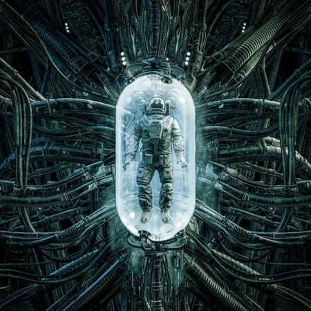The astronaut pod of science fiction scene showing astronaut trapped inside complex creepy futuristic alien medical machinery