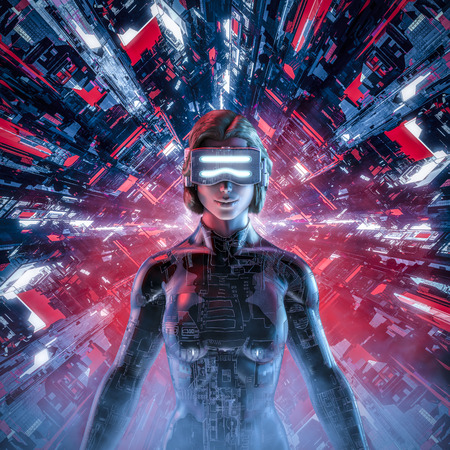 Happy virtual gamer woman  3D illustration of smiling female figure wearing virtual reality glasses and suit in glowing cyberpunk computer core Reklamní fotografie