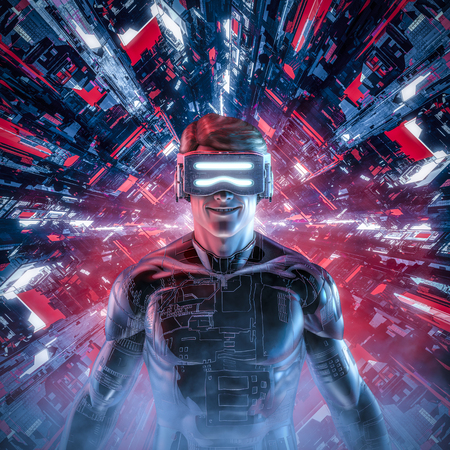 Happy virtual gamer man  3D illustration of smiling male figure wearing virtual reality glasses and suit in glowing cyberpunk computer core 스톡 콘텐츠