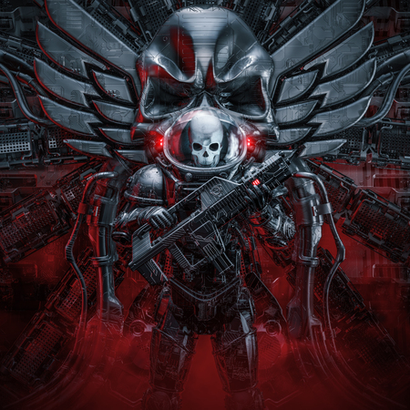 Sentry skeleton military astronaut  3D illustration of science fiction scene showing evil space soldier guard with laser rifle and skull wings emblem