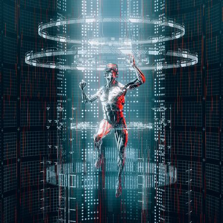 Data portal entry  3D illustration of science fiction male humanoid android travelling through glowing virtual reality code