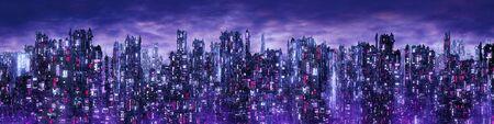 Science fiction neon city night panorama  3D illustration of dark futuristic sci-fi city lit with blight neon lights 写真素材