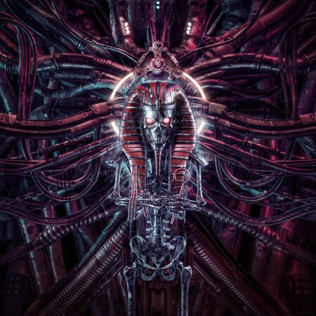 Curse of the neo pharaoh  3D illustration of metallic futuristic zombie skeleton Egyptian robot surrounded by alien machinery