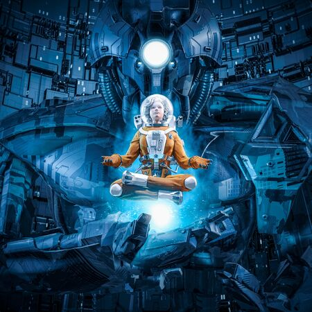 Daughter of the giant  3D illustration of female astronaut in lotus pose levitating over hand of huge alien robot