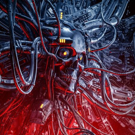 The oracle awakens  3D illustration of science fiction scary robotic skull artificial intelligence hardwired to computer core