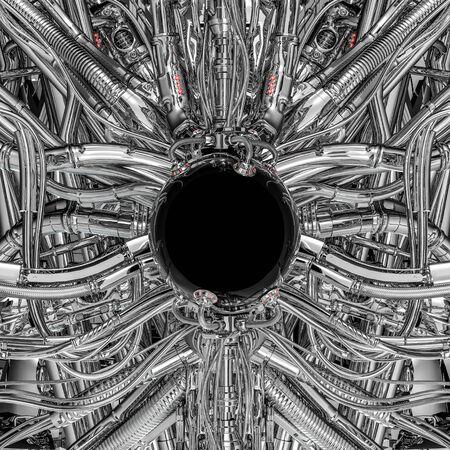 Die dunkle Kugel / 3D-Darstellung der glänzenden schwarzen Science-Fiction-Kugel in komplexen futuristischen außerirdischen Chrommaschinen