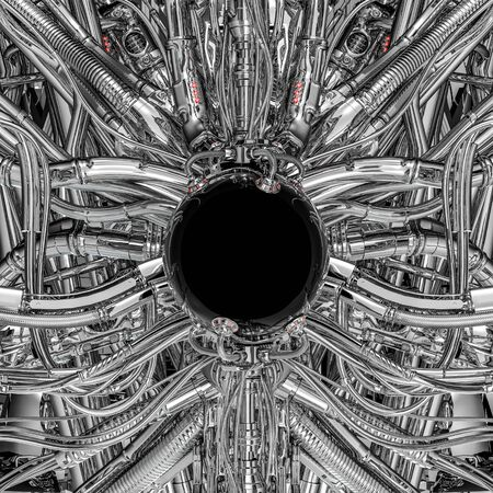 The dark orb / 3D illustration of science fiction shiny black sphere inside complex futuristic alien chrome machinery Reklamní fotografie