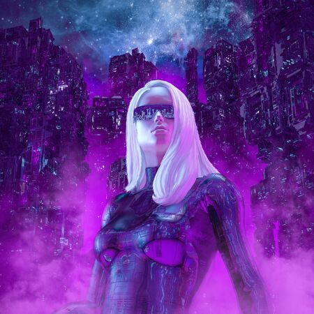 Neon night heroine of beautiful blond woman with sunglasses in futuristic neon lit cyberpunk city