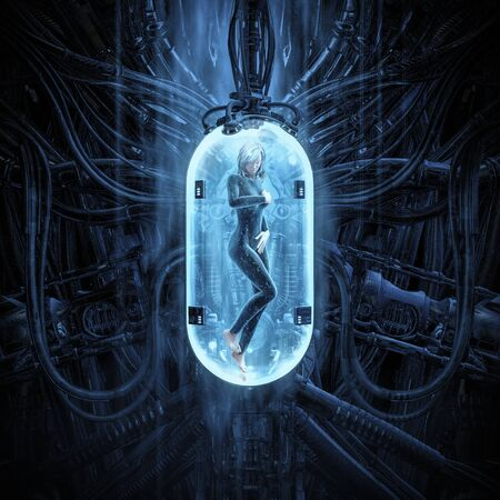 The woman clone pod  of science fiction scene showing human female figure in inside complex futuristic  incubator cloning machinery