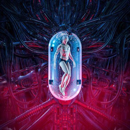 El hombre clon pod de la escena de ciencia ficción que muestra una figura masculina humana dentro de una compleja maquinaria de clonación incubadora futurista