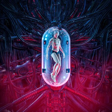 The man clone pod of science fiction scene showing human male figure inside complex futuristic incubator cloning machinery