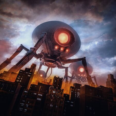 The eve of invasion of retro science fiction scene with giant  machines attacking city 스톡 콘텐츠