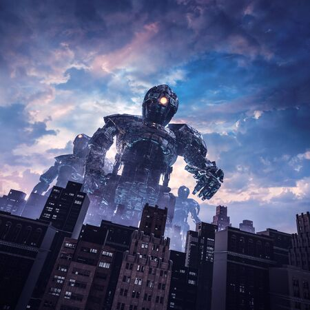 Dawn of the giants of retro science fiction scene with huge alien robots attacking city