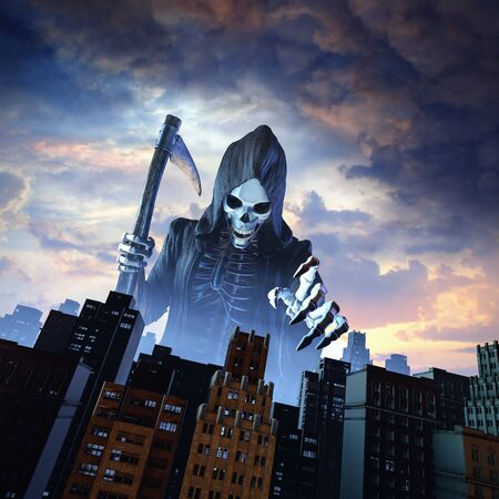 Death and the city of cloaked skeletal grim reaper reaching toward city buildings at dawn