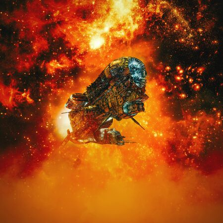 Fire in the sky of science fiction scene with heavy armored battle cruiser spaceship flying in fiery galaxy Stok Fotoğraf