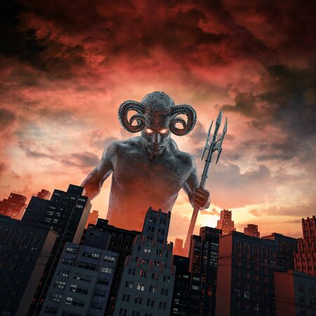Demon and the city of horned devil with trident rising above city buildings at dawn 스톡 콘텐츠